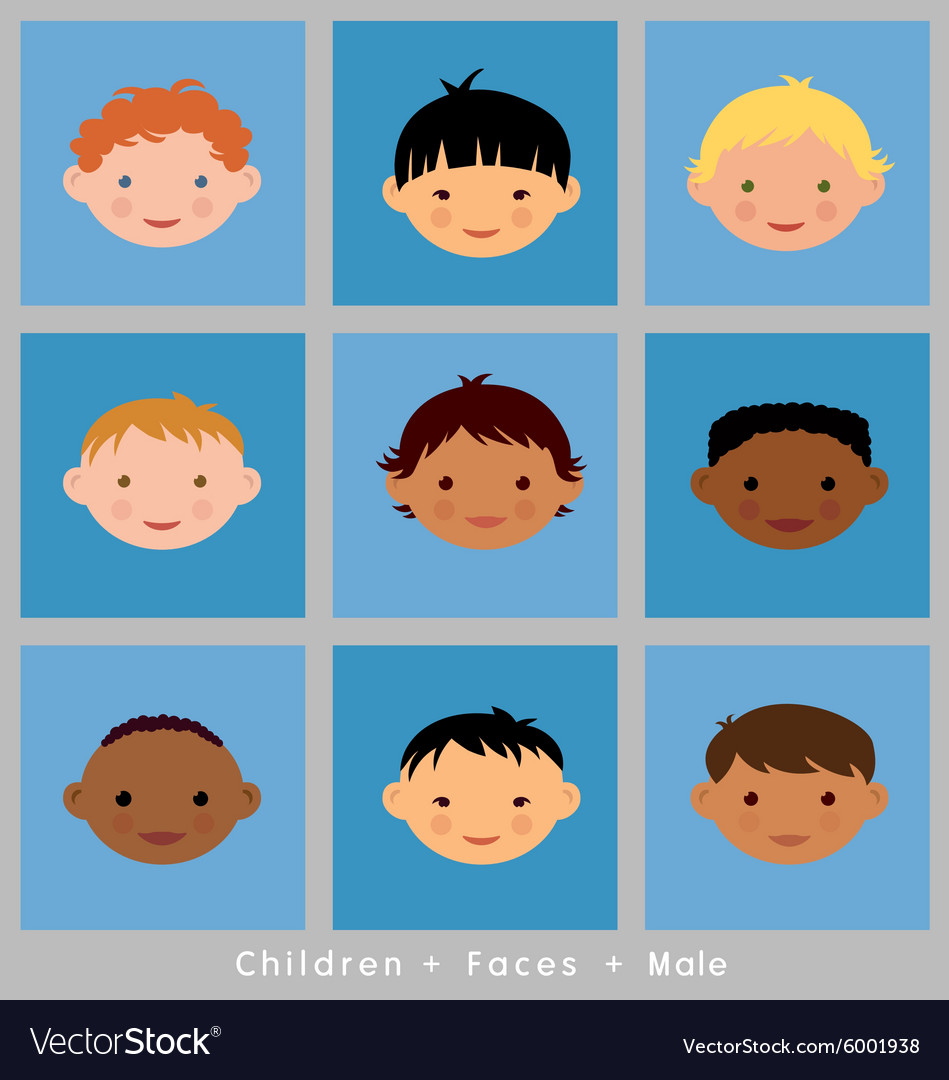 Set cute faces ethnic children boys flat style vector image