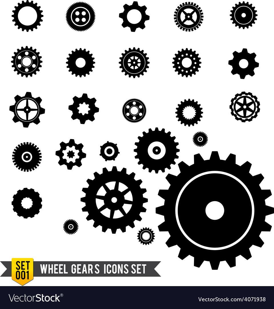 Set of circle wheel gear icon vector image