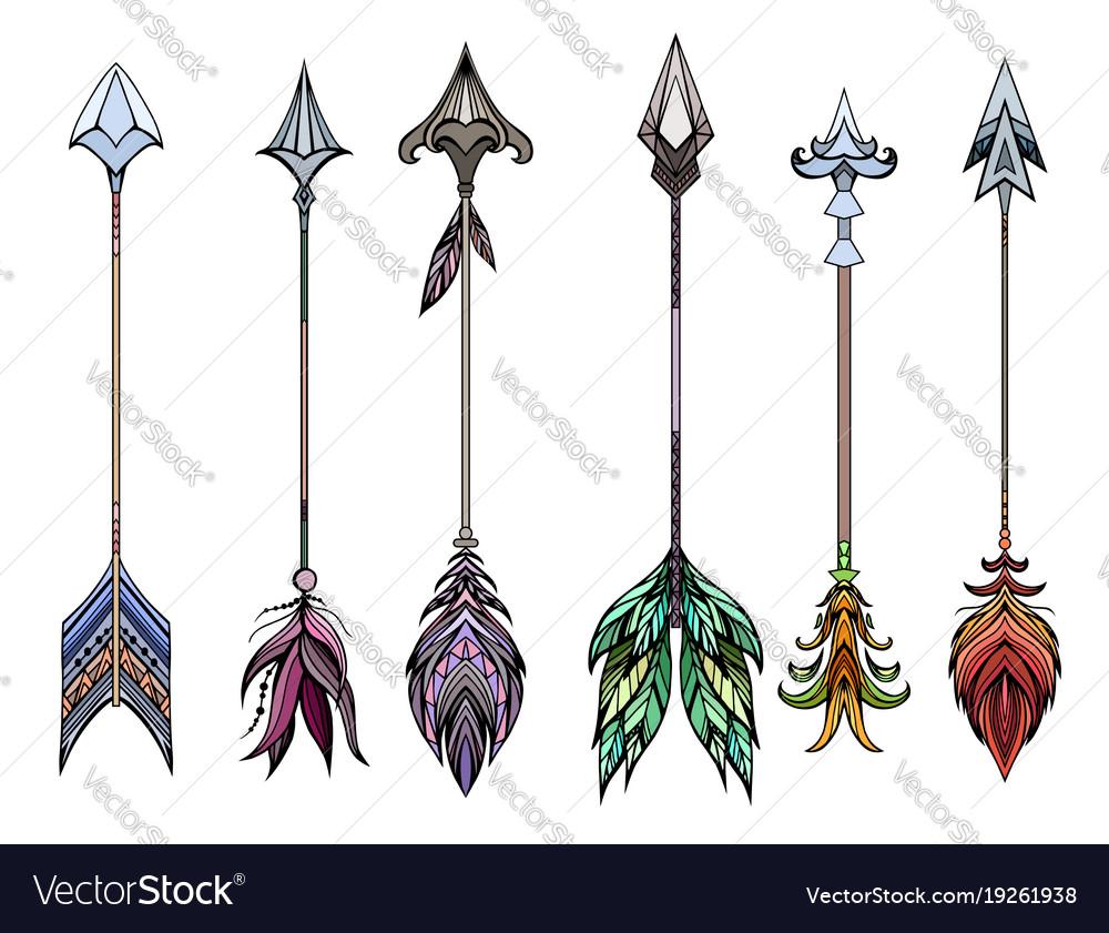 Set of colored boho arrows vector image