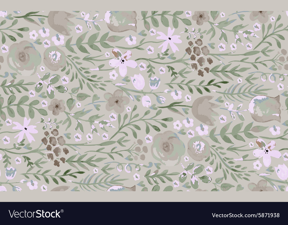 Watercolor seamless pattern withfliwers and leaves