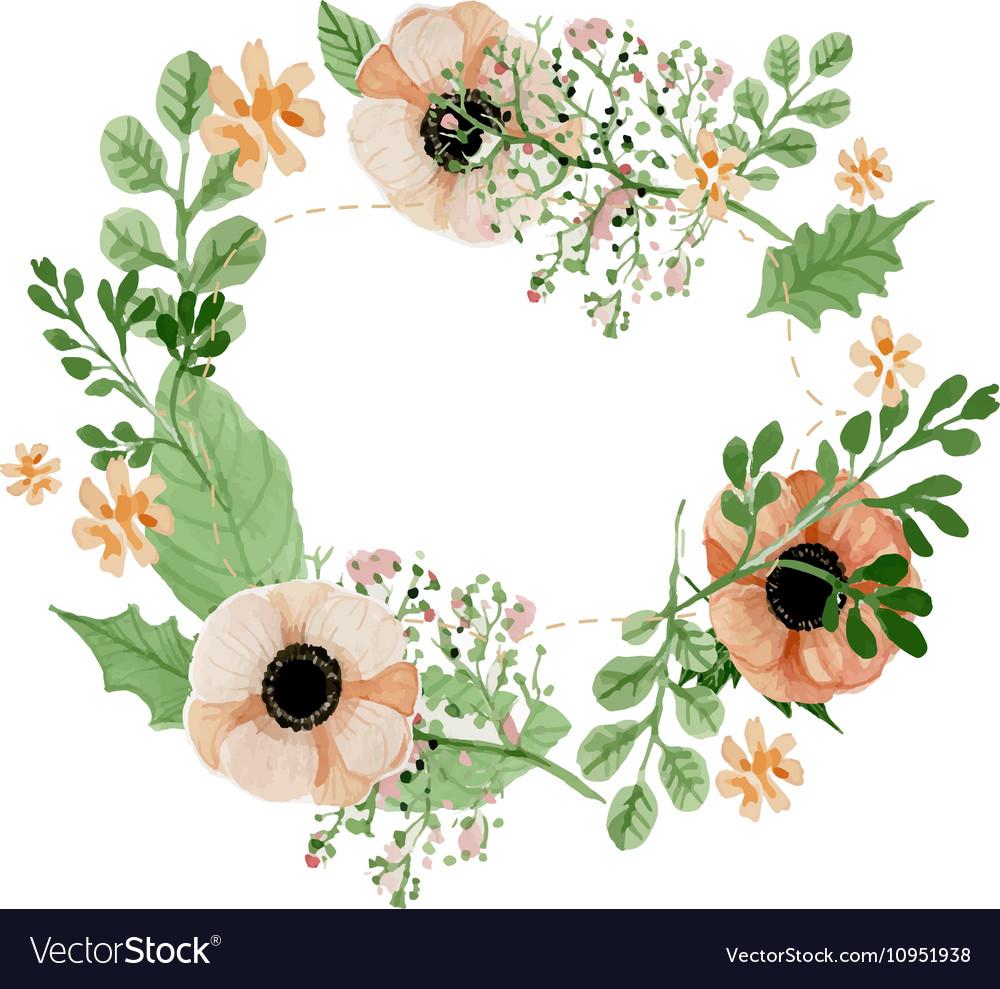 Flower Wreaths For Weddings: Wedding Flower Wreath Royalty Free Vector Image