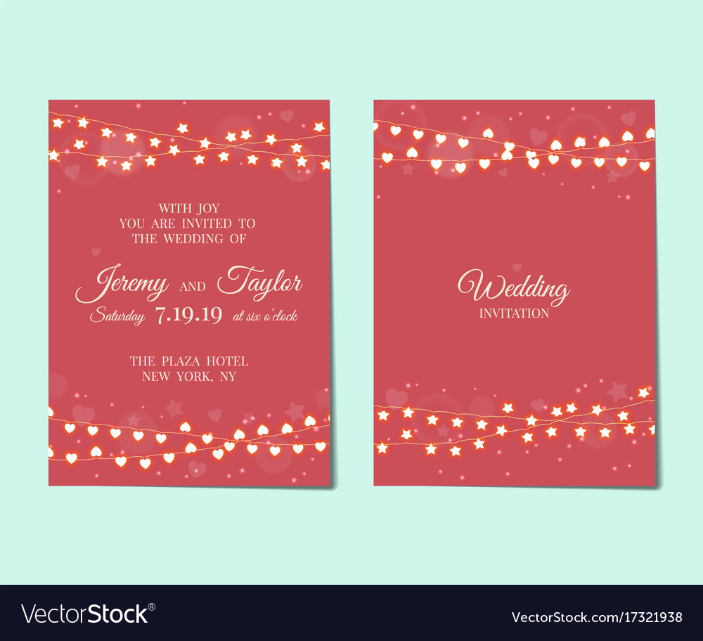 Wedding invitation with light garlands vector image