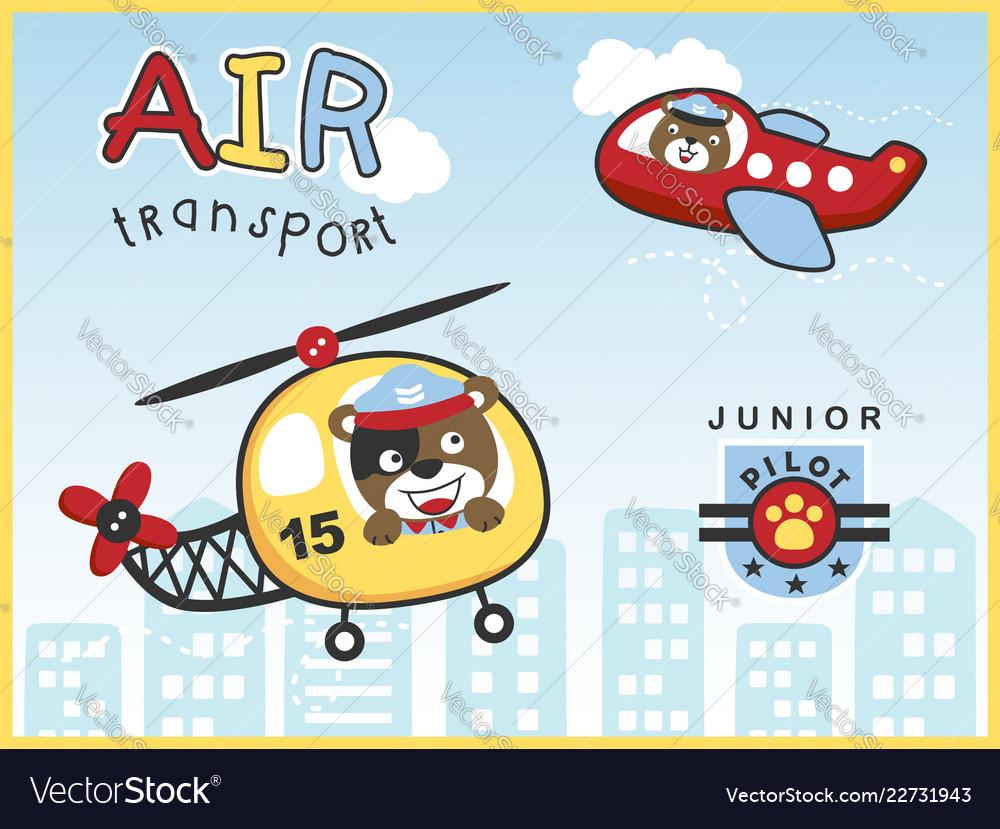 Air transportations with funny pilot cartoon