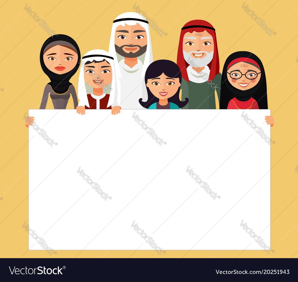 Arab family muslim people saudi cartoon man