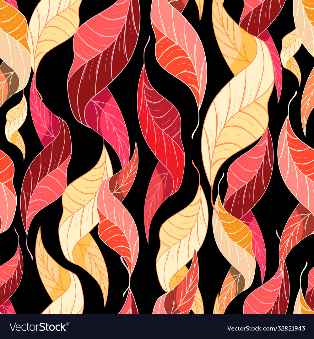 Autumn seamless pattern multicolored leaves