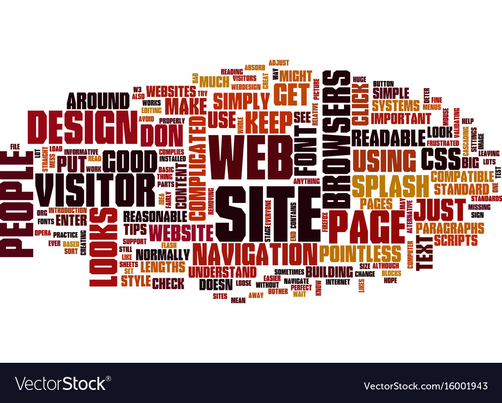 Basic website design service text background word vector image