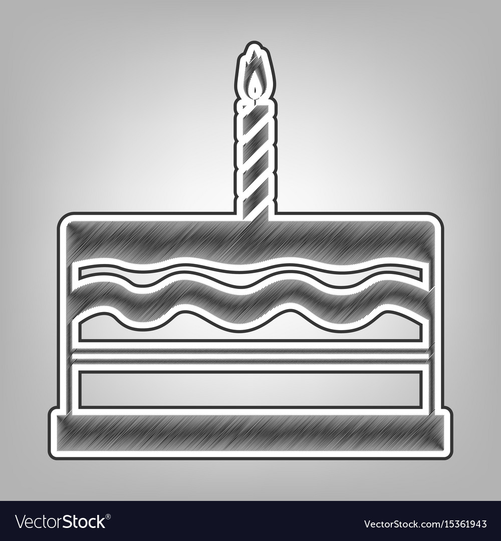 Birthday cake sign pencil sketch vector image