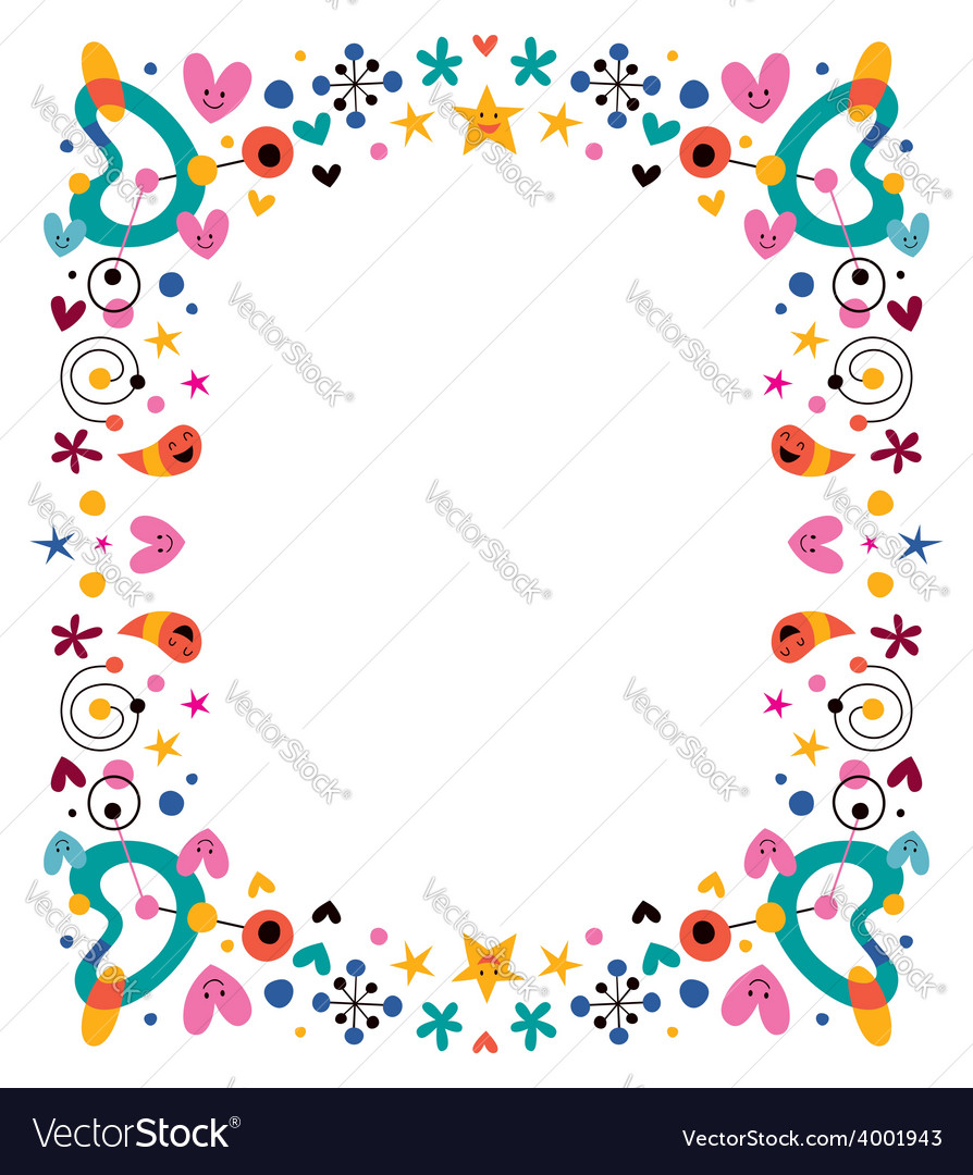 Cartoon fun happy frame design element Royalty Free Vector