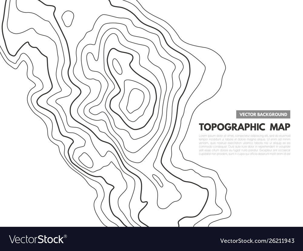 Contour line map topographical relief outline