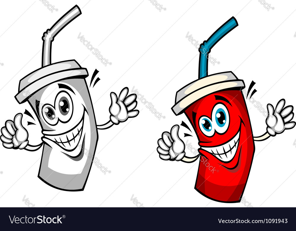 Fresh soda drink with straw vector image