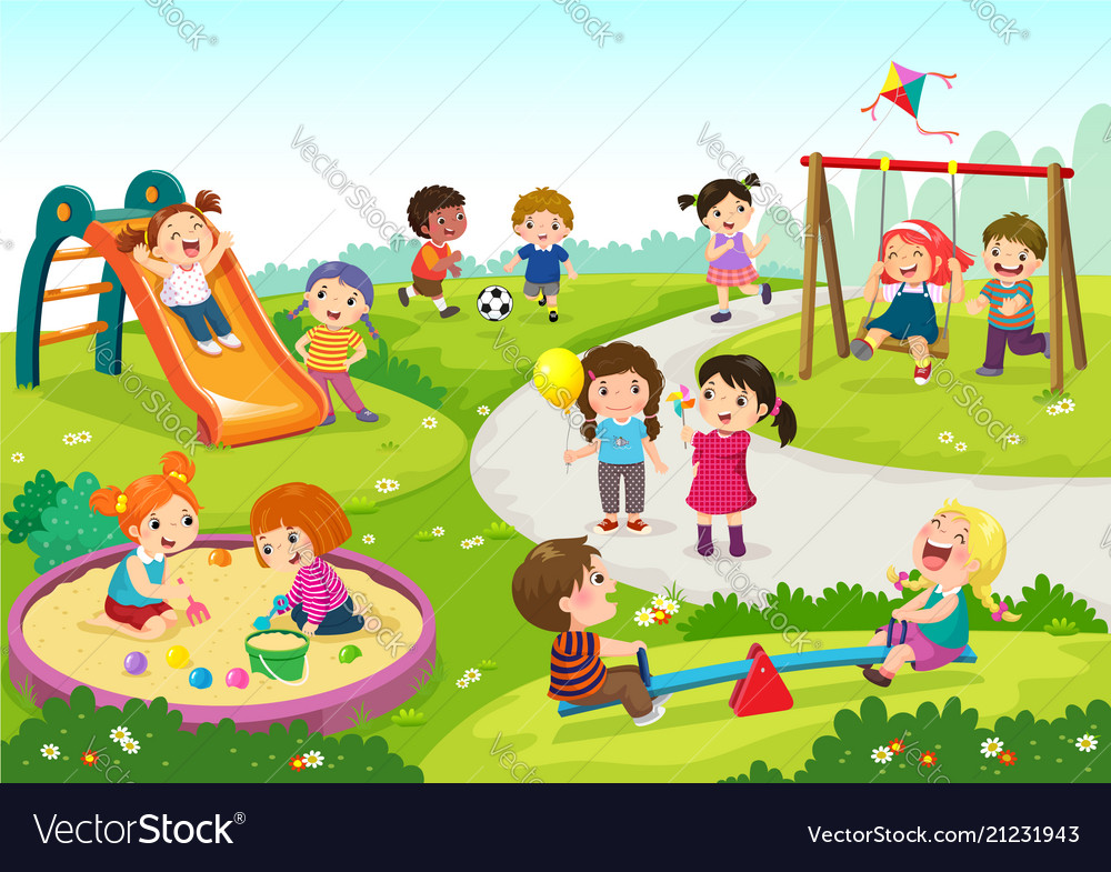 Happy children playing in playground
