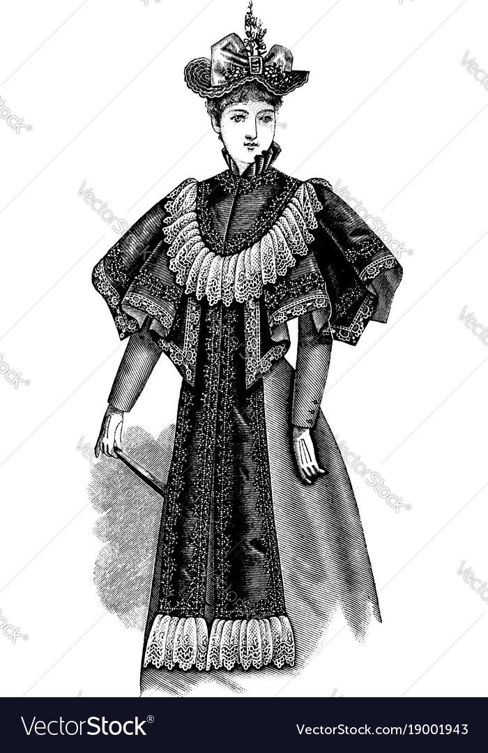 Ladys plaited cape vintage engraving vector image