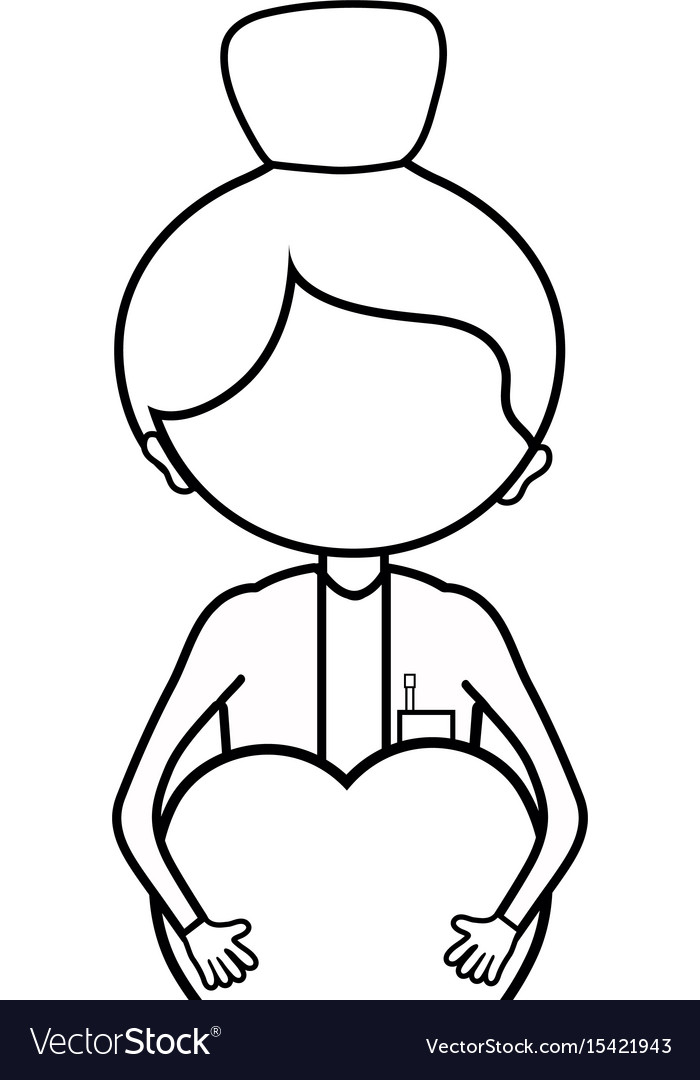 Line woman doctor with heart in her hands vector image