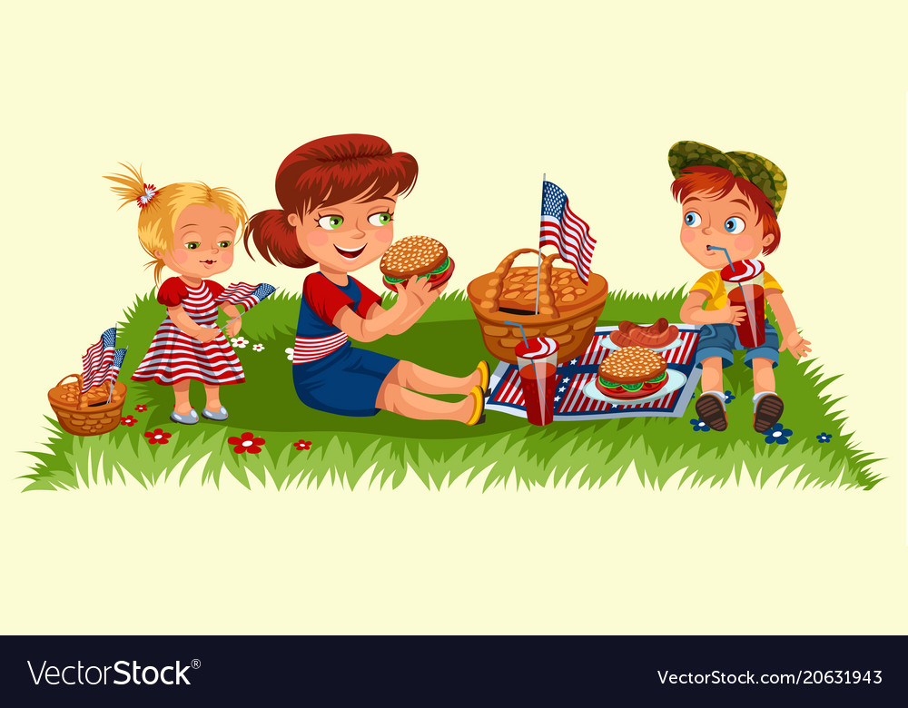 Mother with two children sitting on green grass in vector image