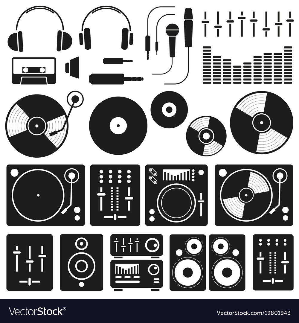 Music equipment icon set on white background