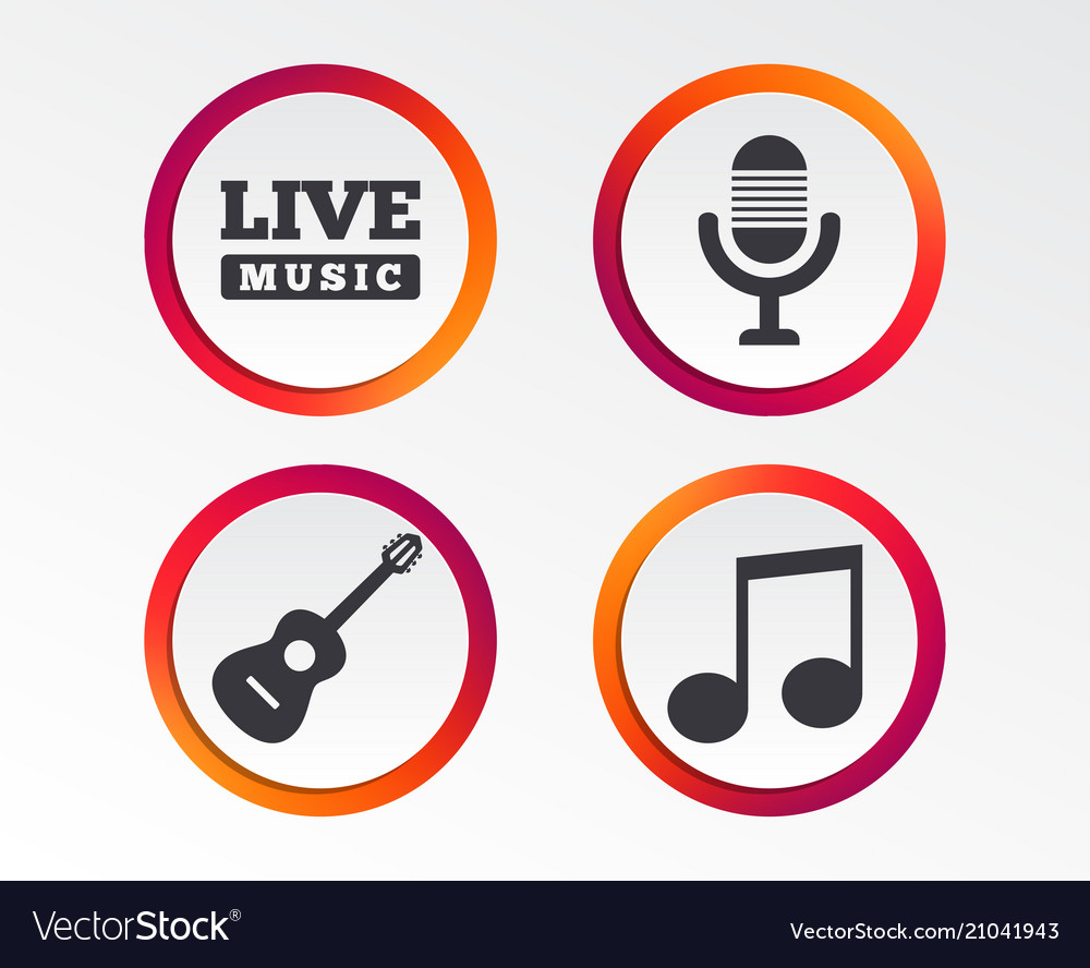 Musical elements icon microphone and guitar