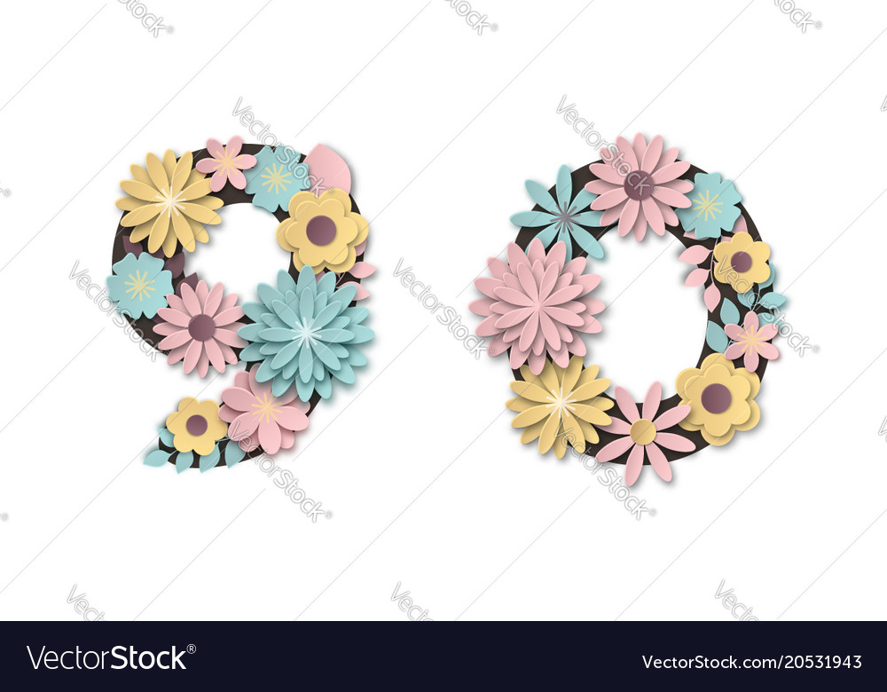 Paper art flower digits beautiful romantic gentle