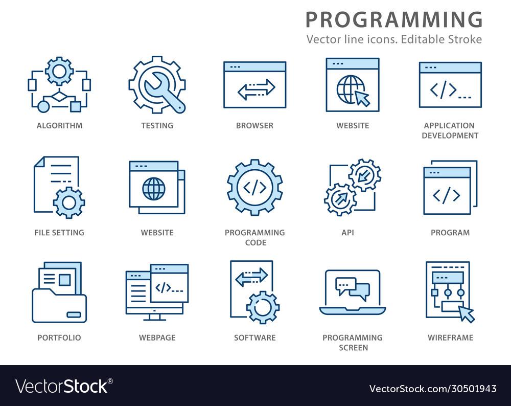 Programming line icon set