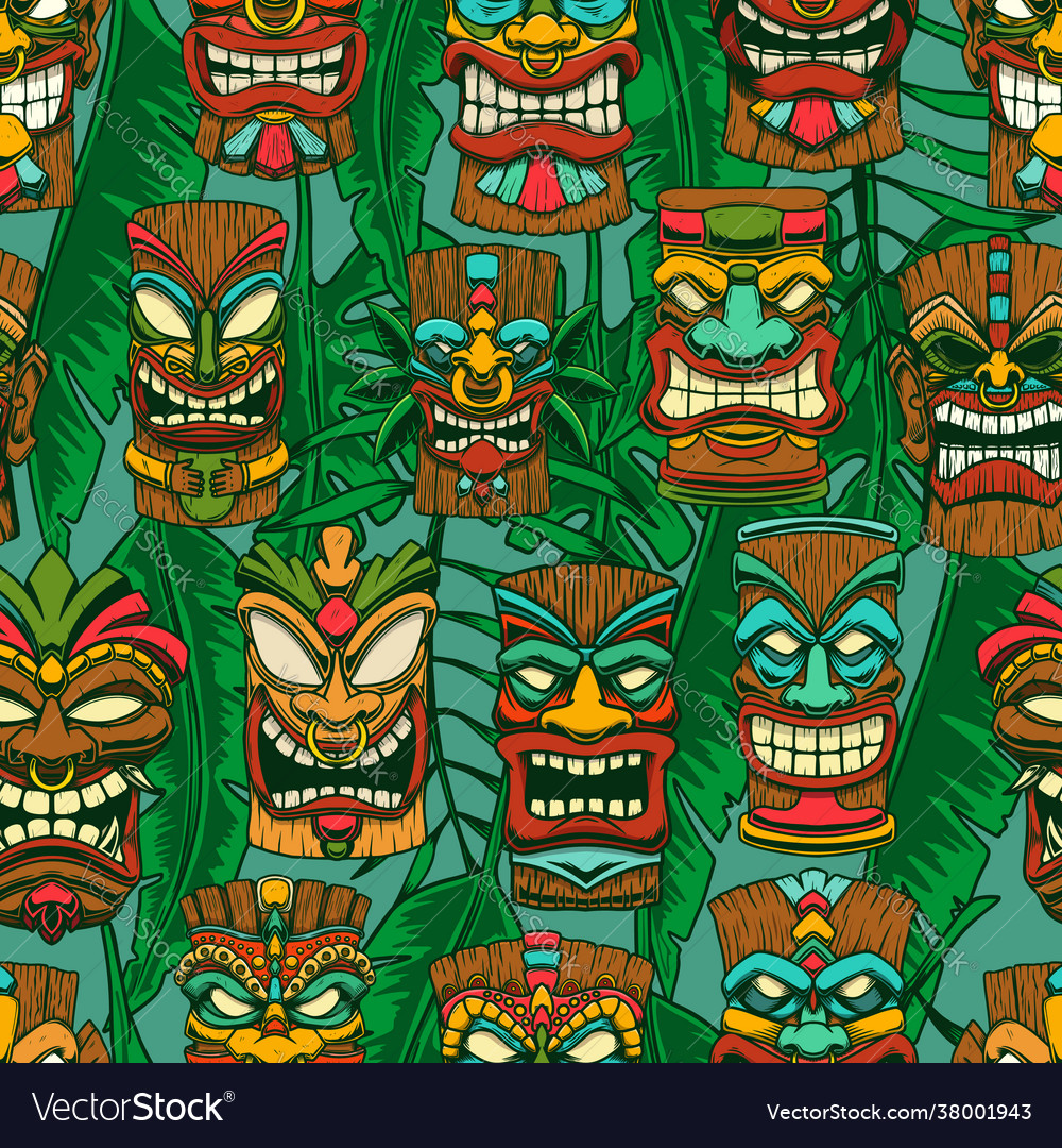 Seamless pattern with tiki idols and palm leaves