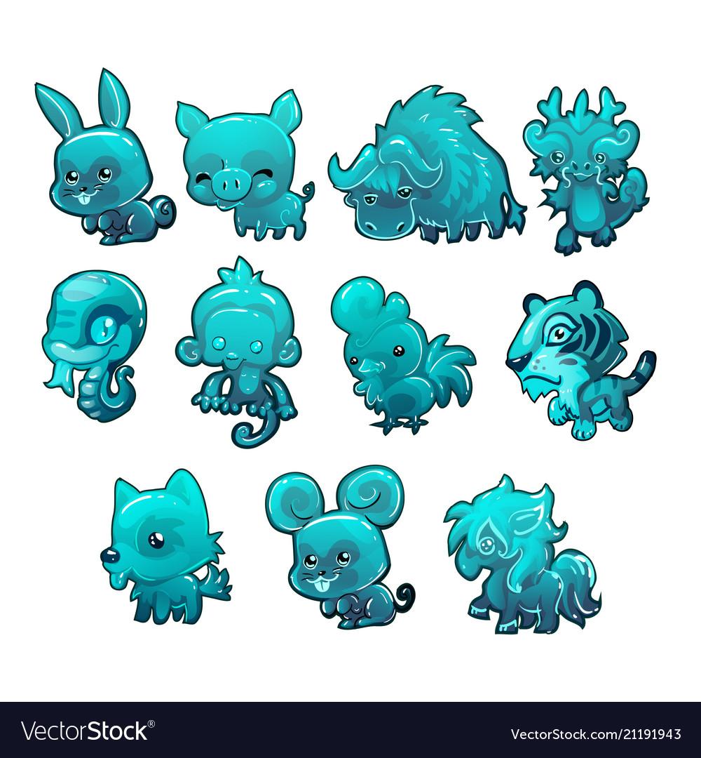 Set cartoon ice figurines animals turquoise