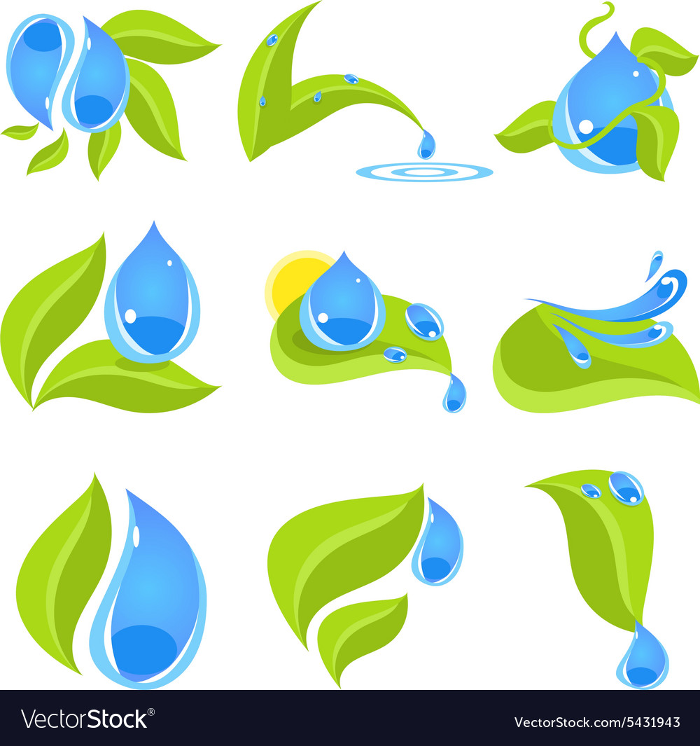 Set of icons for water and nature