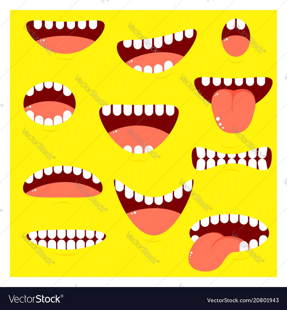 Set of mouths cartoon with different emotion vector image