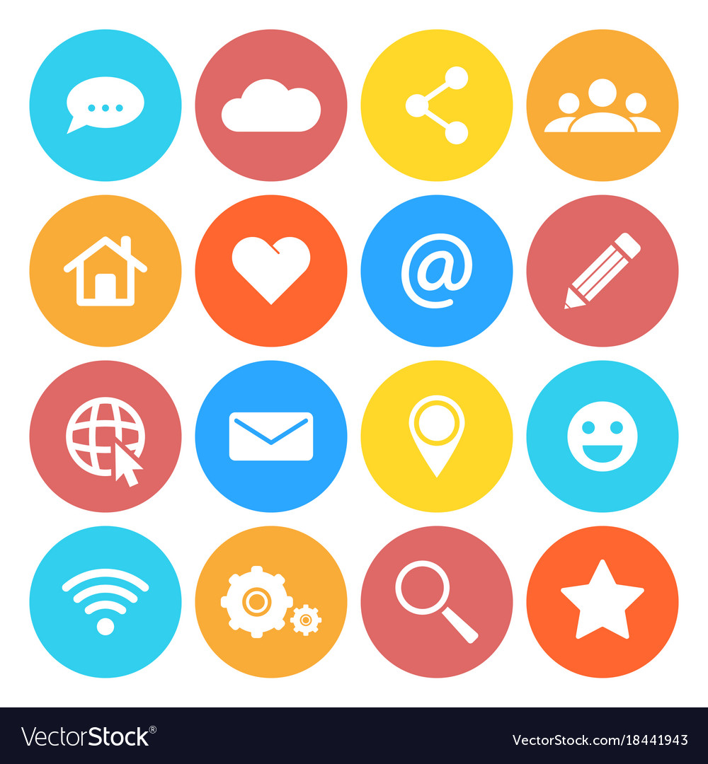Set of social networking icons flat design style