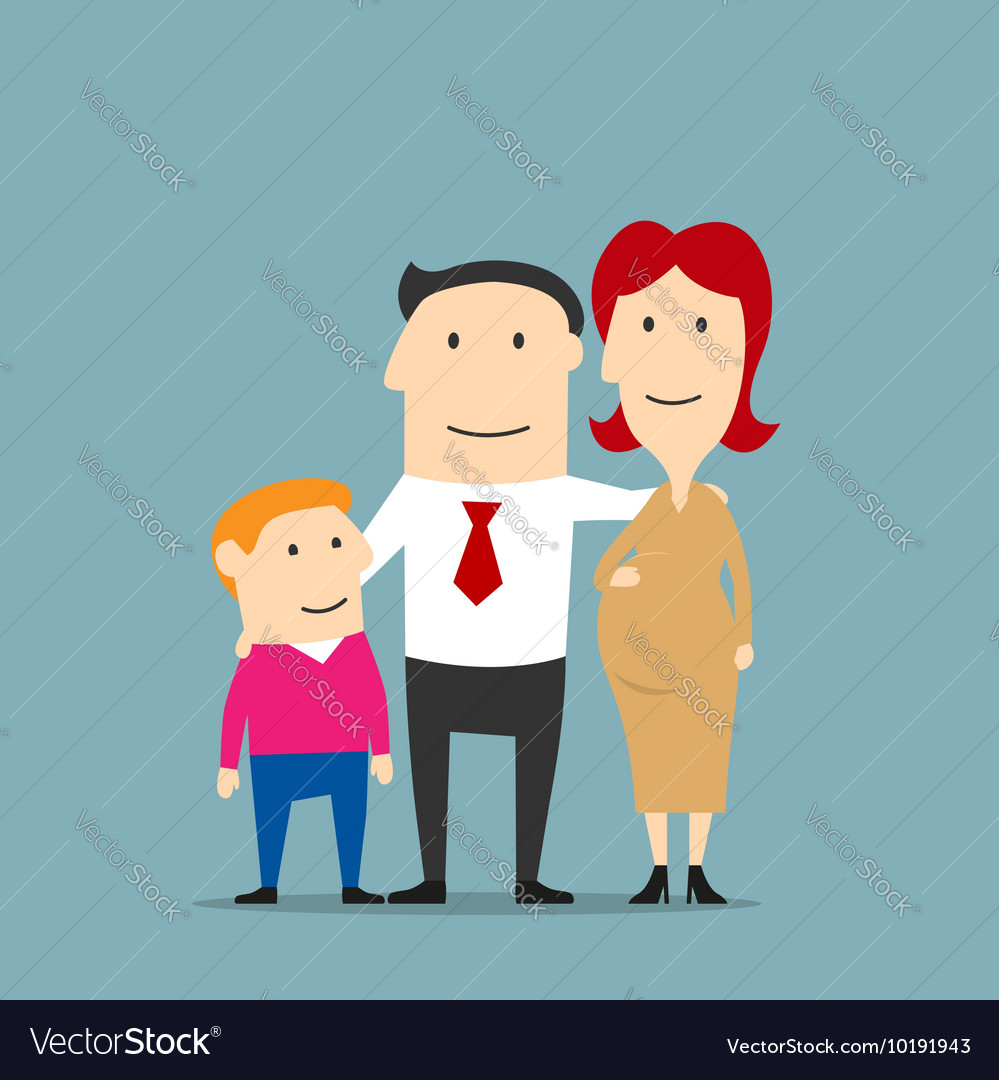 Smiling pregnant woman with husband and son vector image