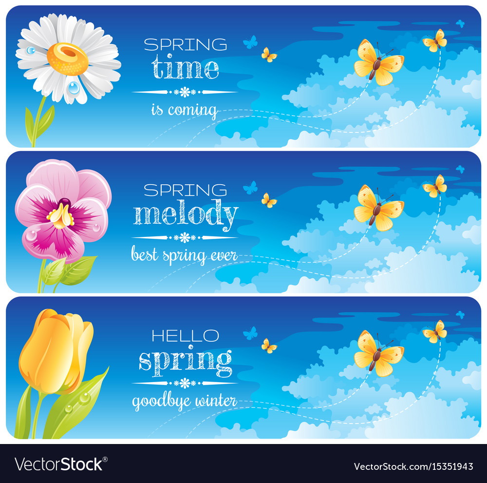 Spring banner set easter mothers day birthday