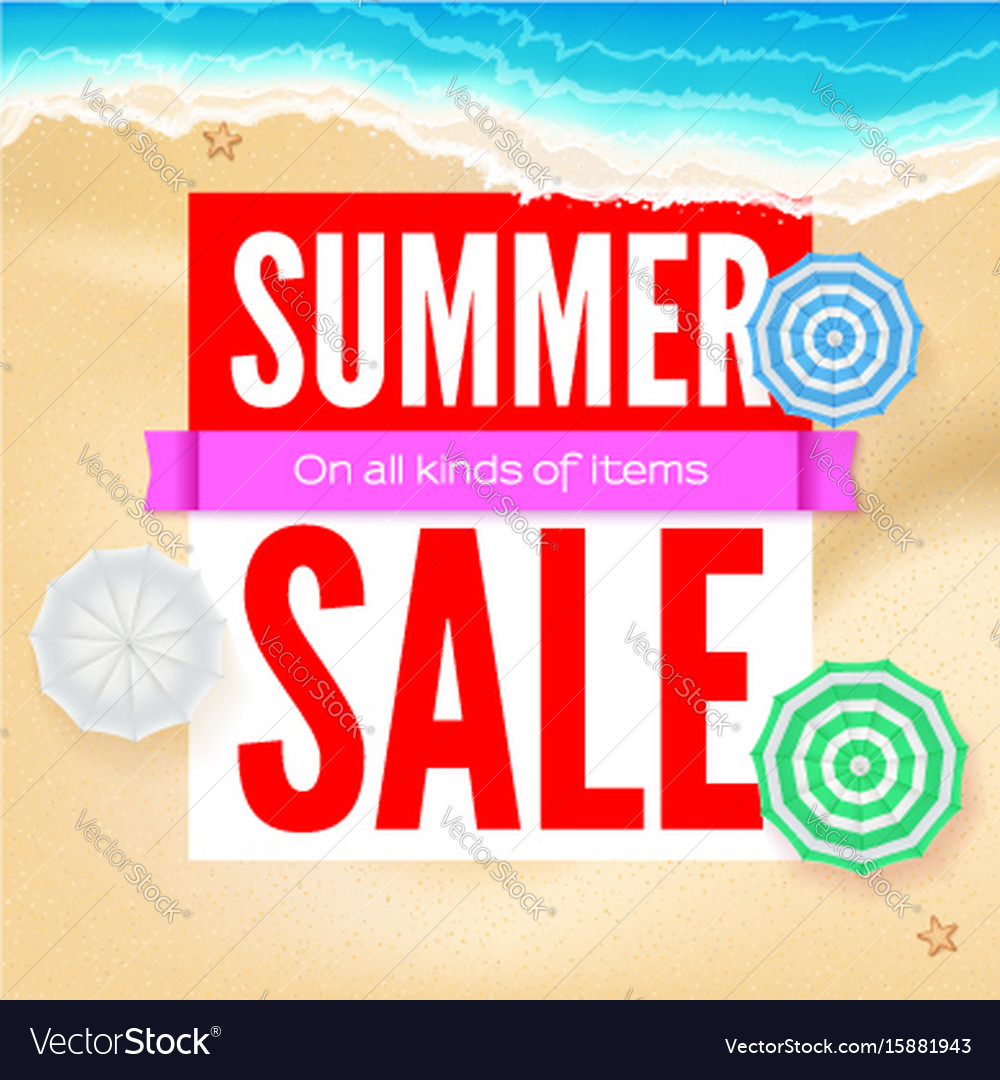 Summer sale selling ad banner text design with vector image