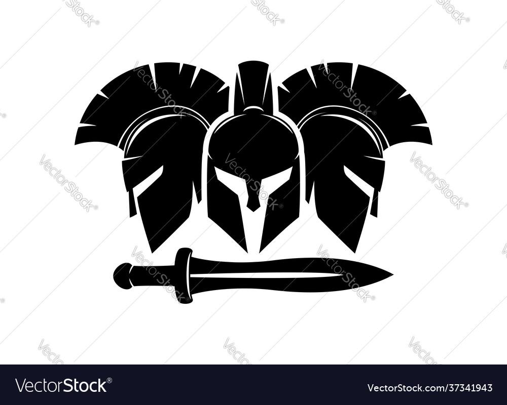 Three spartan helmet and sword icon