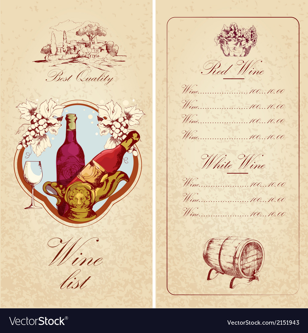 Wine list template Royalty Free Vector Image - VectorStock