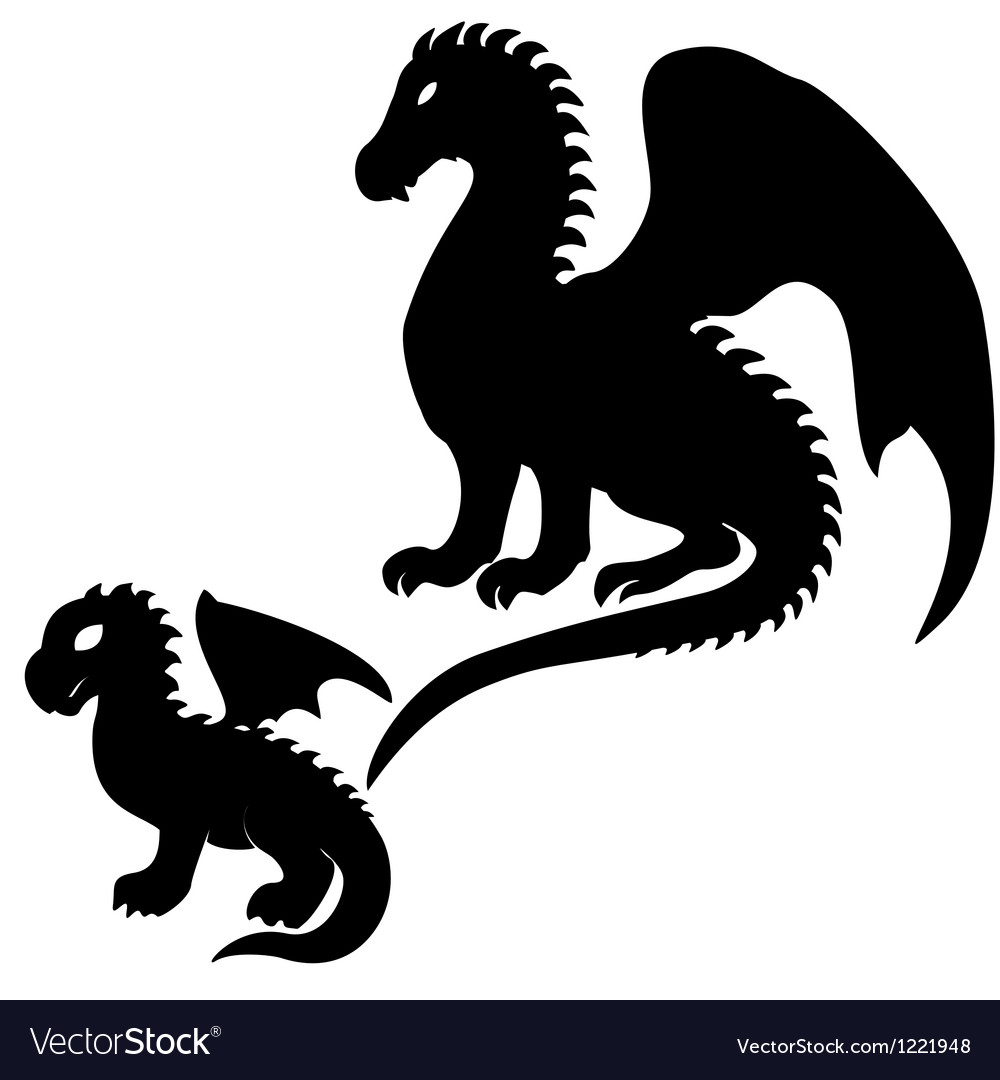 Adult and baby dragon silhouettes vector image
