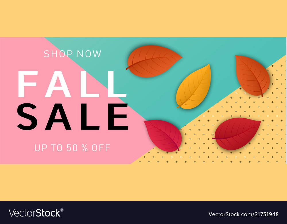 Autumn fall sale concept background realistic