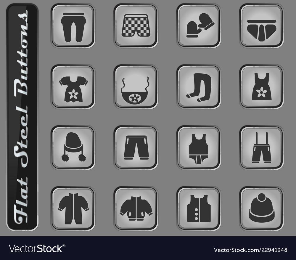 Baby clothes icon set
