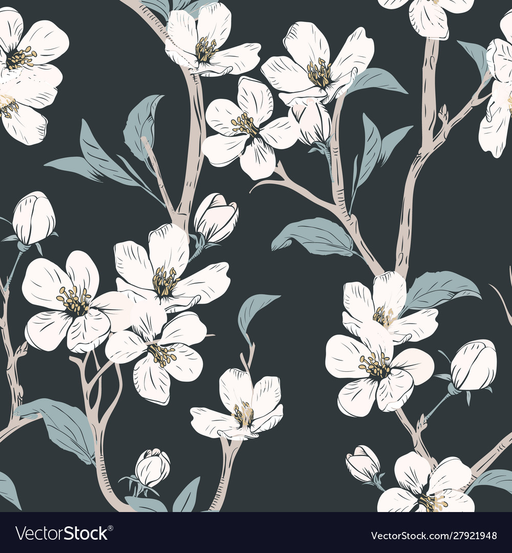 Blooming tree seamless pattern with flowers