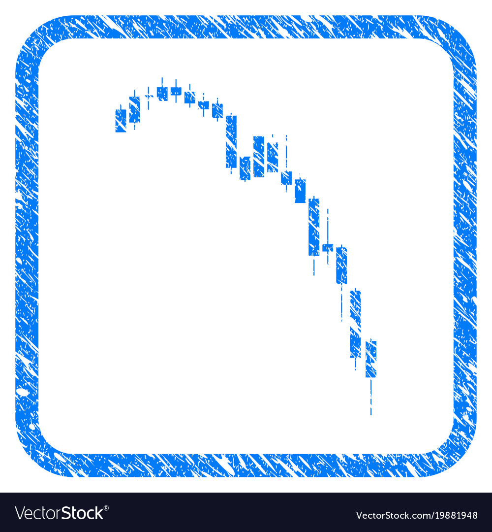 Candlestick falling acceleration chart framed