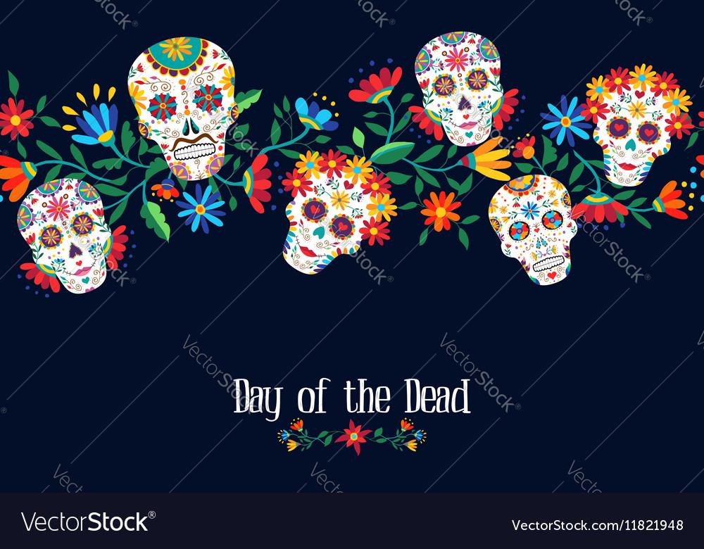 Day Of The Dead Flower Skull Background Design Vector Image