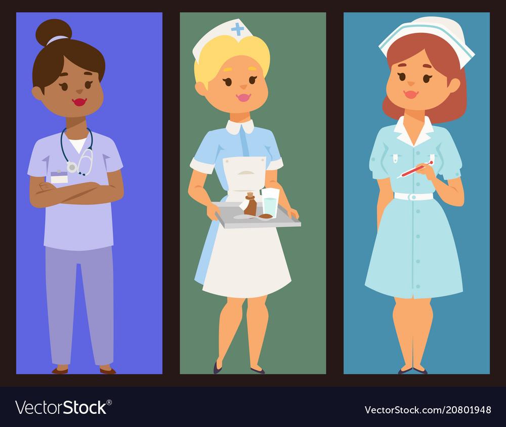Doctor nurse character brochure medical