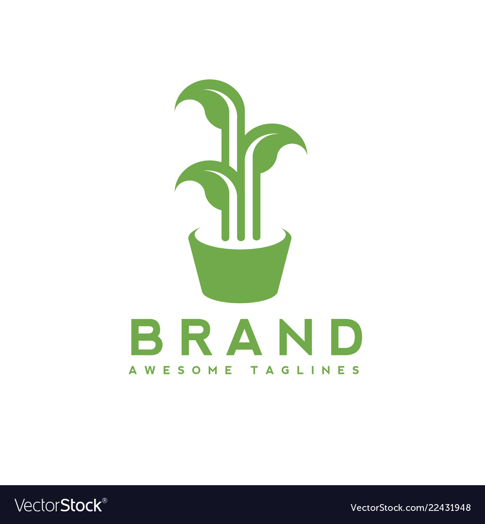 Green leaves growing in pot logo concept