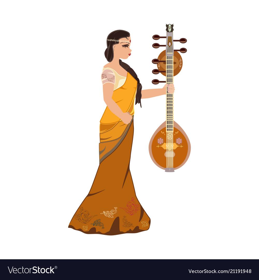 Indian girl with saraswati veena design
