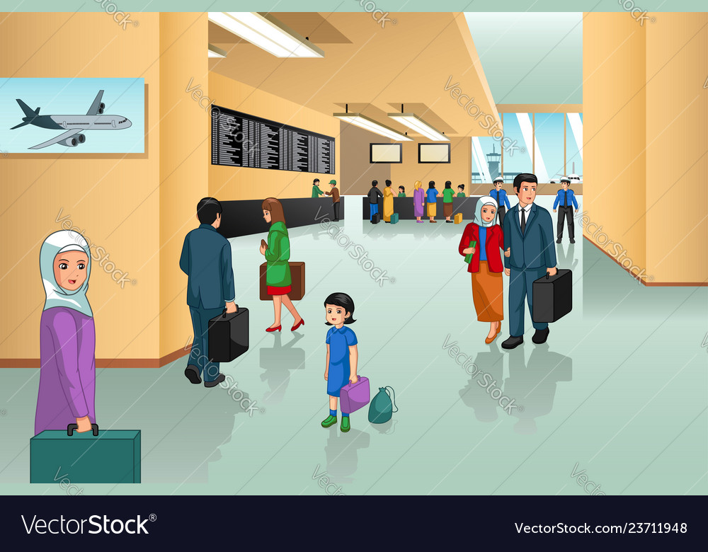 Inside airport scene