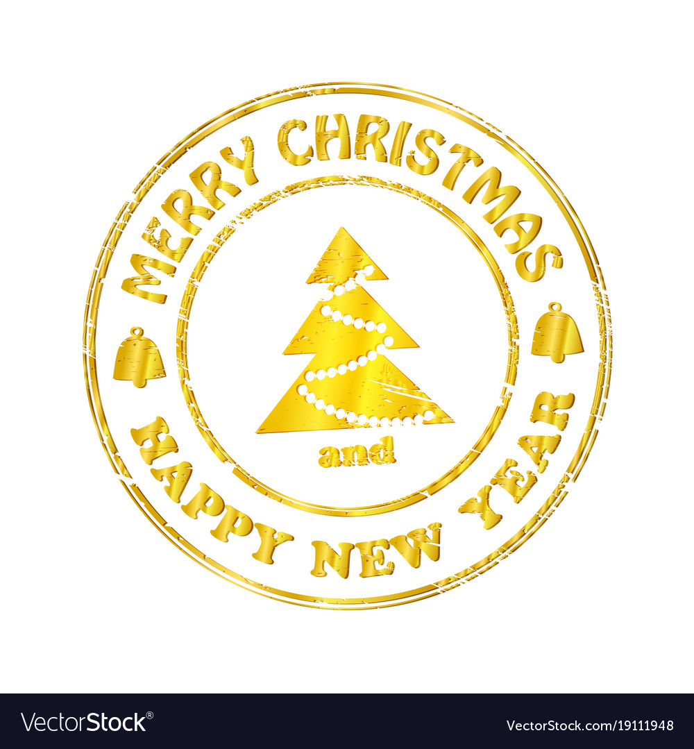 Isolated stamp christmas and happy new year