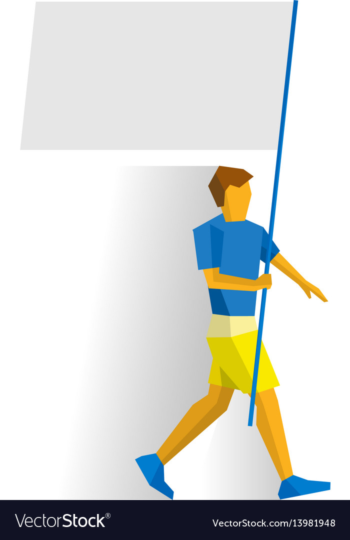 Man with blank standard in two hands flag bearer vector image