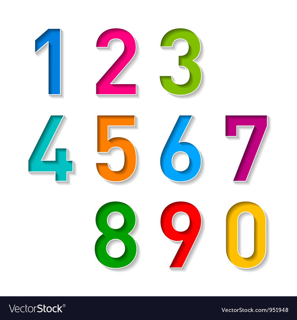 Numbers set vector image