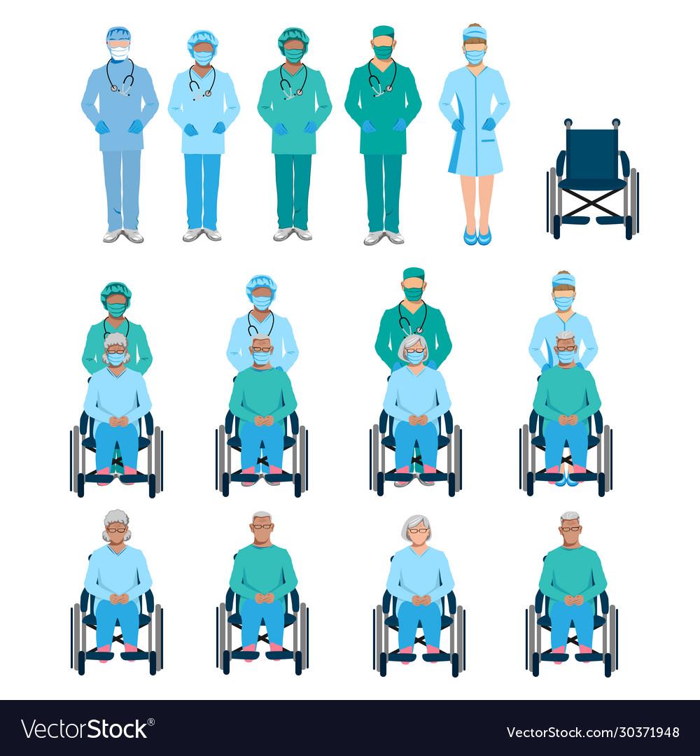 Nurse taking patient on wheelchair