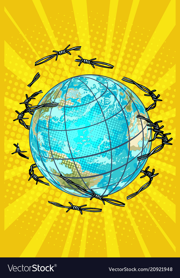 Planet earth is barbed wire free vector image