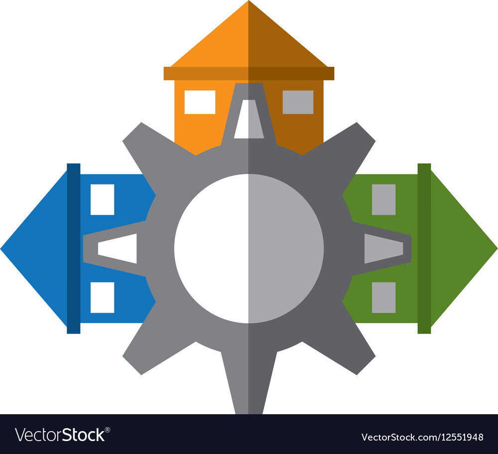 Real estate gear symbol shadow