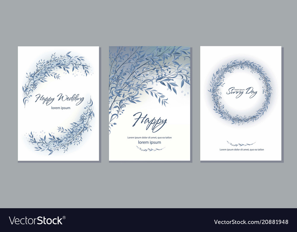 Set card with beautiful twigs with leaves
