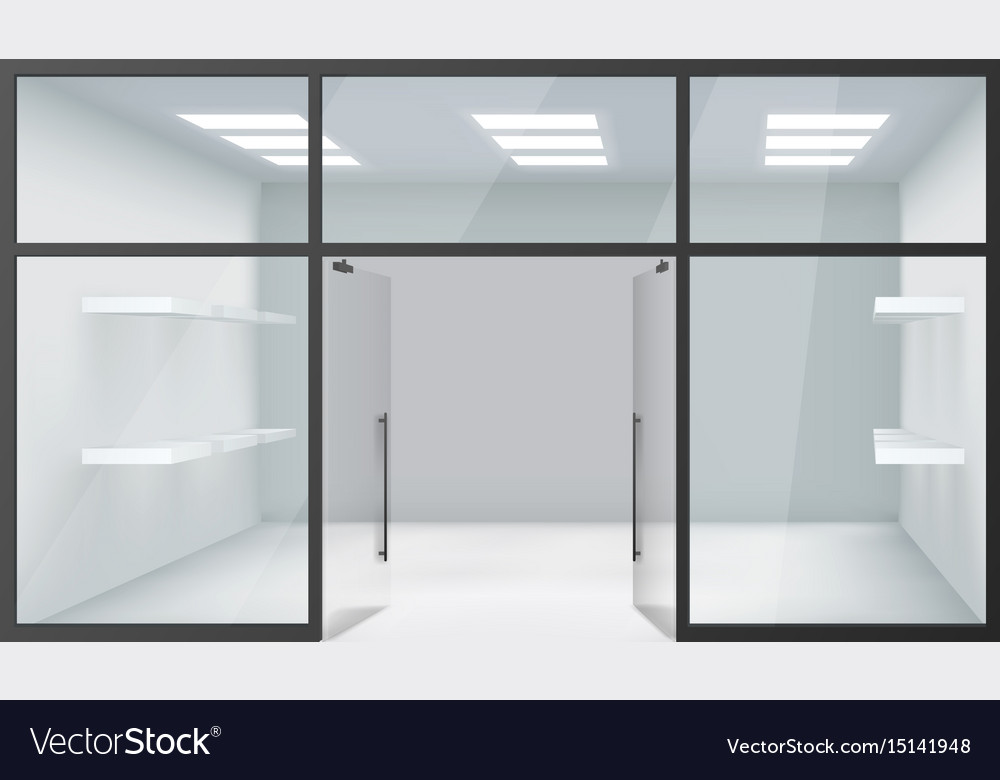 Shop empty interior front store 3d realistic